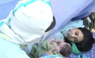 """שלושה ימים לפני הלידה - חלתה בקורונה (צילום: מתוך """"חדשות הבוקר"""" , קשת 12)"""