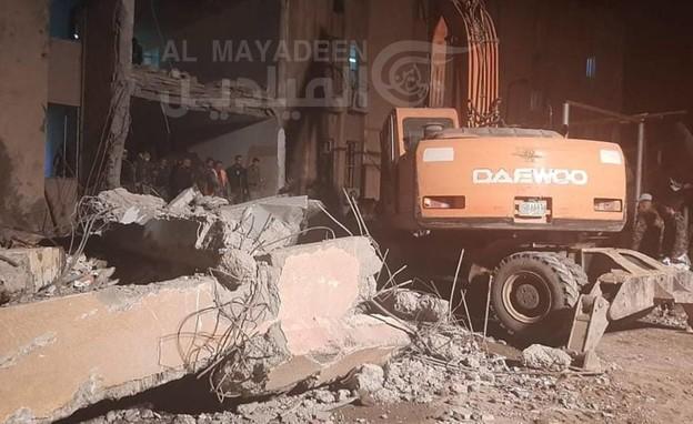 רשת אלמיאדין מפרסמת תיעוד מהתקיפה במזרח סוריה (צילום: al mayadeen)