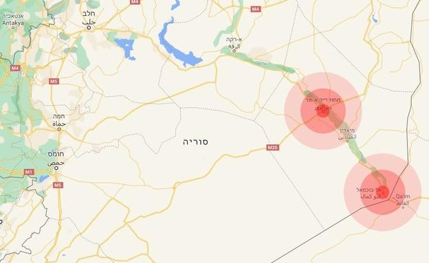 האזורים שבהם התרחשו התקיפות בסוריה שיוחסו לישראל (צילום: google maps)