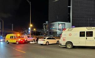 """זירת התאונה שבה נהרג בן ה-19 (צילום: תיעוד מבצעי מד""""א)"""
