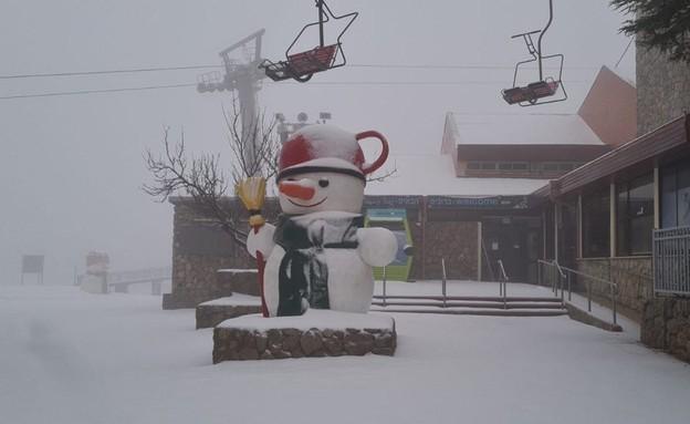 שלג בחרמון הבוקר (צילום: אתר החרמון)