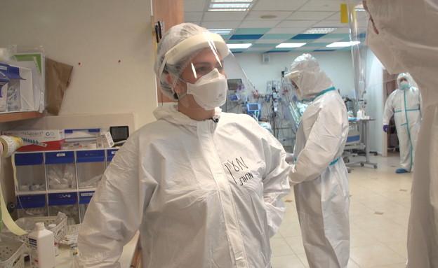 תיעוד של העומס במחלקת הקורונה בבית החולים לניאדו. (צילום: החדשות 12)