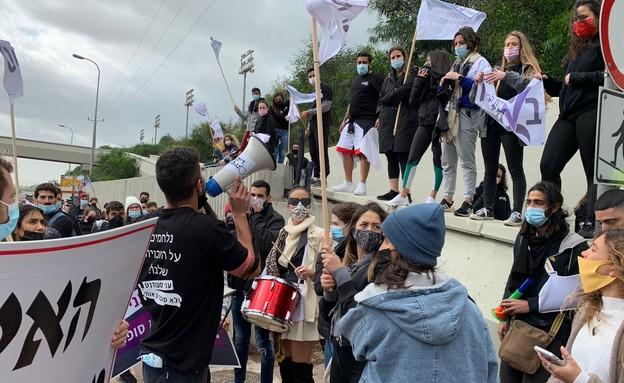 הפגנות הסטודנטים במכללה האקדמית בוינגייט  (צילום: ירדן בן צבי   באדיבות אגודת הסטודנטים המכללה האקדמית בוינגייט)