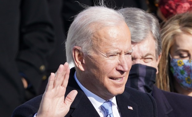 "ג'ו ביידן נשבע בטקס ההשבעה לנשיאות ארה""ב (צילום: רויטרס)"