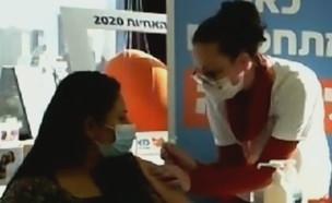 """בשידור חי: חיסון לאישה בהריון מתקדם (צילום: מתוך """"ישראל עכשיו"""", קשת 12)"""