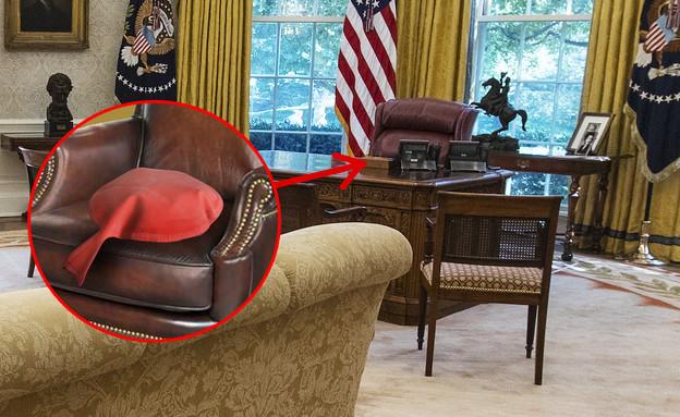 כרית פלוצים על הכיסא בחדר הסגלגל (צילום: מערכת Wako, מדור סאטירי)