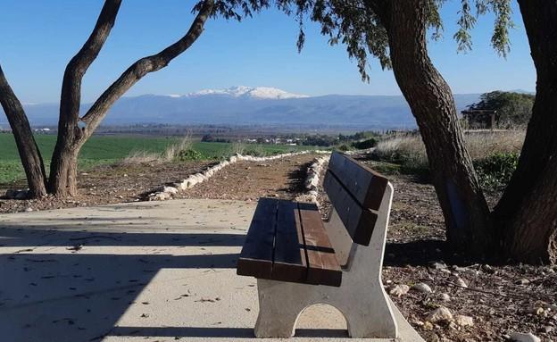 נוף החרמון המושלג כפי שנשקף מהגן הלאומי תל חצור (צילום: עידו שקד, רשות הטבע והגנים)