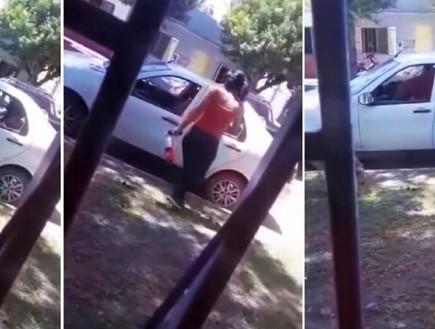 מול המצלמות: נקמה בבן זוגה והרסה את רכבו באמצעות פטיש