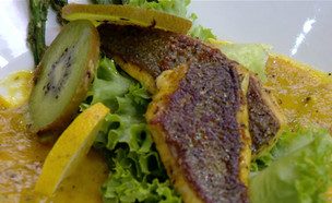 """דג דניס בקרם קיווי (צילום: מתוך """"מאסטר שף"""", קשת 12)"""
