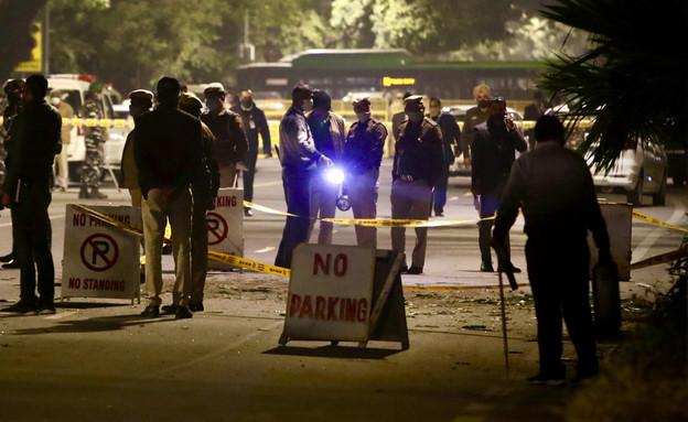 פיצוץ ליד שגרירות ישראל בדלהי (צילום: AP)