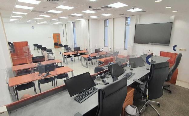 האולם בו יתנהל משפט נתניהו (צילום: אריה בן וייס , החדשות 12)