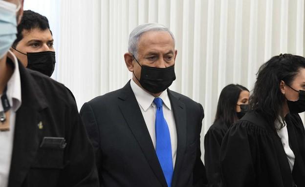 נתניהו בבית המשפט (צילום: ראובן קסטרו)