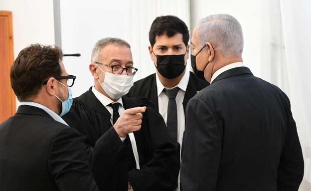 נתניהו בבית המשפט (צילום: קסטרו, החדשות12)