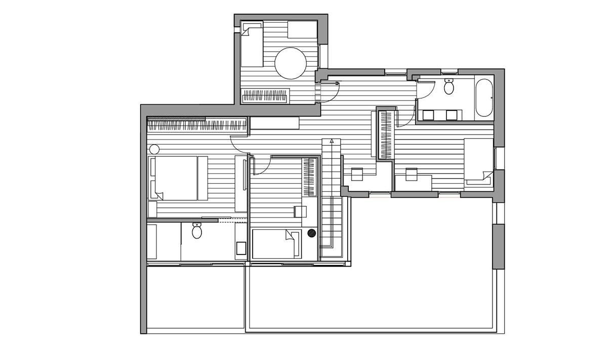 דופלקס בתל אביב, עיצוב גילי רשף-גול, תוכנית קומה עליונה