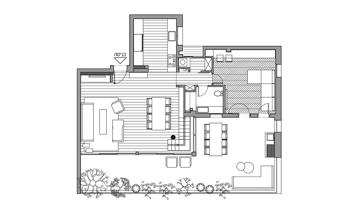 דופלקס בתל אביב, עיצוב גילי רשף-גול, תוכנית קומת כניסה