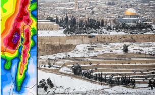 שלג בירושלים ב-2015 והמודל הקנדי (צילום: הדס פרוש, פלאש 90)