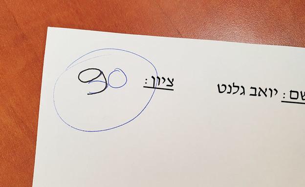הציון שקיבל יואב גלנט (צילום: רחלי רוטנר)