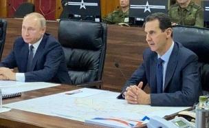 ולדימיר פוטין בביקור פתע בסוריה אצל בשאר אסד (צילום: סוכנות הידיעות הסורית סאנא)