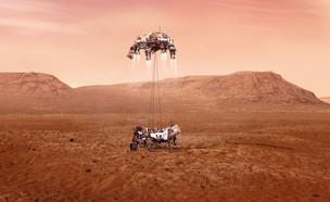 """הדמיית הנחיתה של רכב החלל של נאס""""א על מאדים (צילום: נאס""""א)"""