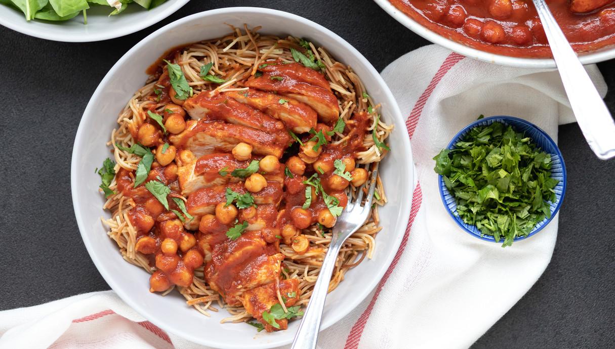 חזה עוף ברוטב עגבניות וחומוס
