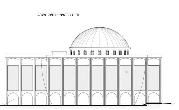 תוכניות בית הכנסת הגדול בתל אביב (צילום: באדיבות קרן תל אביב. אדריכל: אורי פדן)