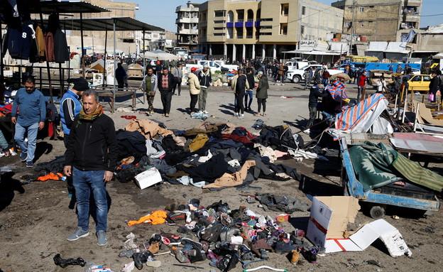 """זירת פיגוע התאבדות כפול של דאע""""ש בבגדאד, ינואר 202 (צילום: רויטרס)"""