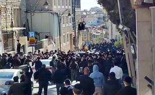 חרדים, הפגנה, ירושלים, קורונה, שוטרים (צילום: החדשות 12)
