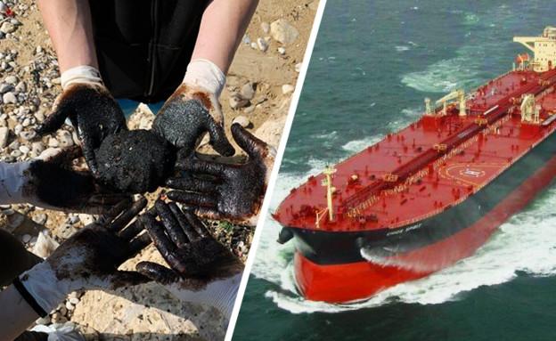 הספינה שאחראית לזיהום הזפת בחופי ישראל (עיבוד: איגוד ערים שרון כרמל, מתוך האתר Marine Traffic)