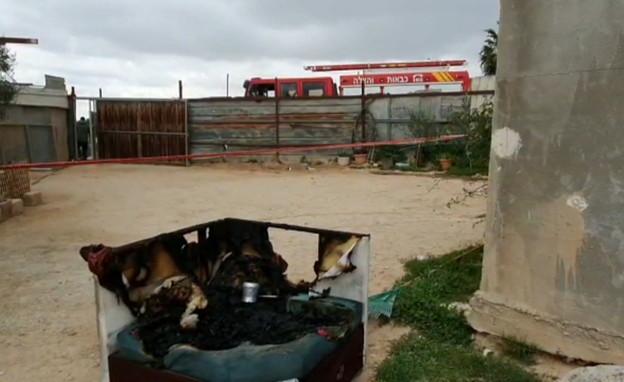 זירת השריפה בחורה (צילום: החדשות 12)