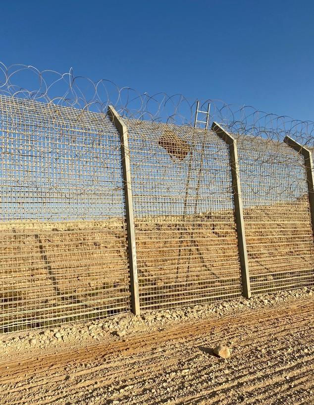 """סולם על גדר הגבול עם מצרים שבאמצעותו הבריחו סמים  (צילום: דובר צה""""ל)"""