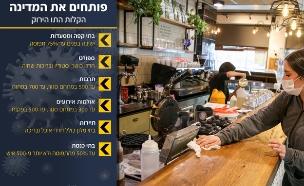 קורונה בישראל - בית קפה מתכונן לפתיחה (צילום: דוד כהן, פלאש 90)