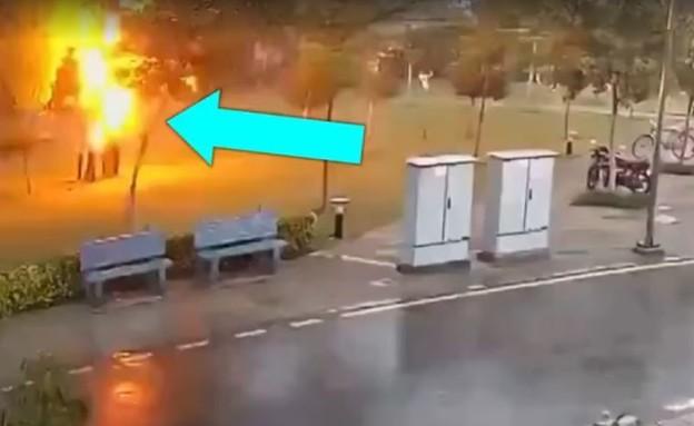 גבר ושלושה נפצעו מפגיעת ברק (צילום: facebook)