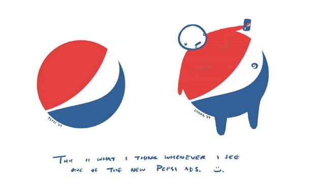 לוגו פפסי מול הקריקטורה (עיצוב: Lawrence Yang)