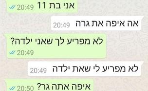 התכתבות בין מבוגר לילדה בת 11 (צילום: צילום מסך)