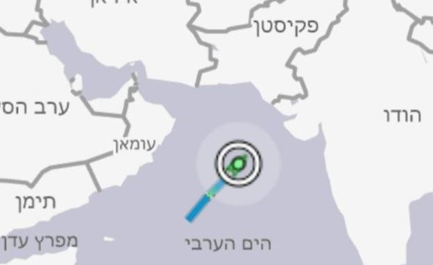 מקום הפגיעה של הספינה הישראלית