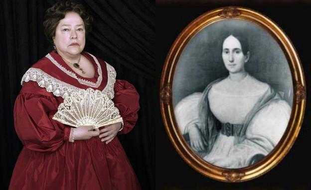 """דלפין לאלורי ובת דמותה ב""""אימה אמריקאית"""" (צילום: לאלורי - נחלת הכלל (Wikimedia); """"אימה אמריקיאת"""" - יח""""צ באדיבות yes)"""