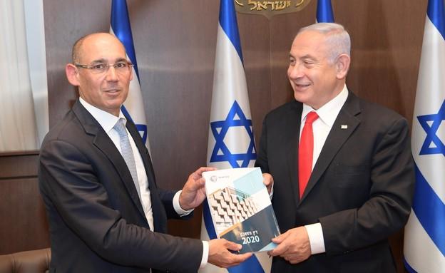 """נגיד בנק ישראל אמיר ירון וראש הממשלה נתניהו (צילום: עמוס בן גרשום, לע""""מ)"""