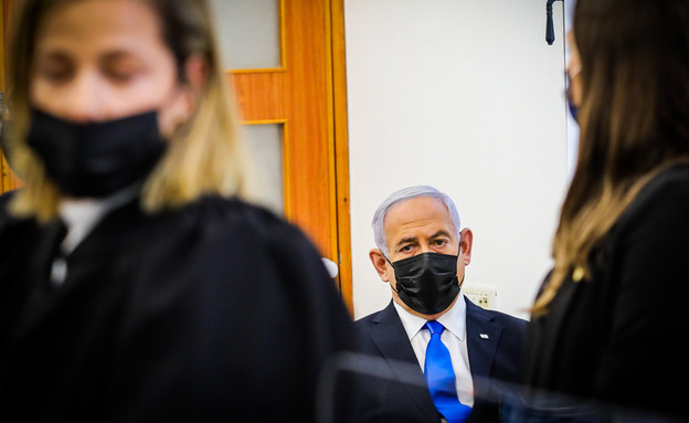 בנימין נתניהו בבית המשפט (צילום: אורן בן חקון)