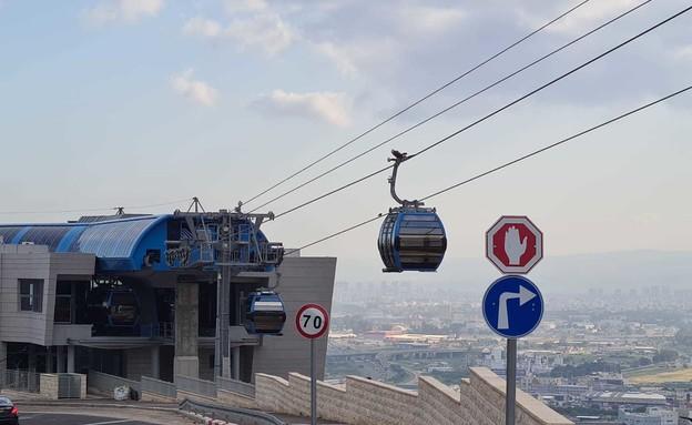 הרצה ראשונה של הרכבלית בחיפה (צילום: החדשות 12)