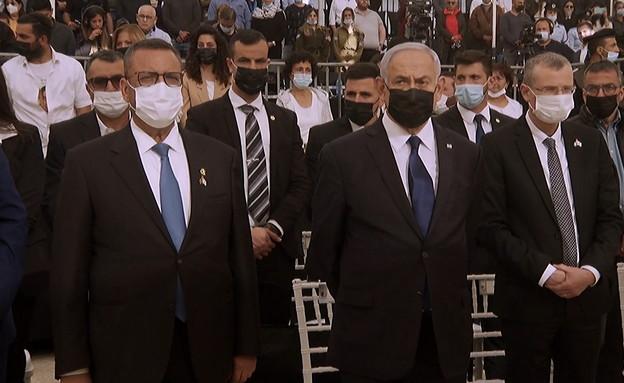 נתניהו יריב לוין, משה ליאון בטקסמ יום הזיכרון