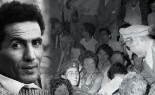"""יצחק ג'יבלי עם משה דיין (צילום: עיתון במחנה, מתוך """"אתר הגבורה"""")"""
