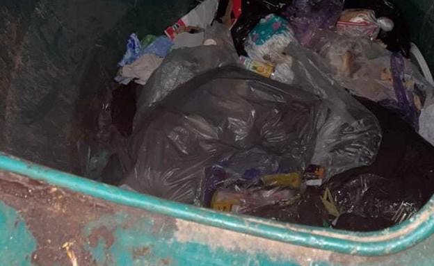 נפל לפח אשפה (צילום: משטרת ישראל)