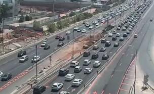כביש 4, פקקים ביום העצמאות (צילום: נתיבי ישראל)