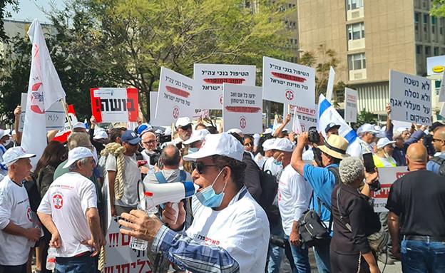 הפגנות מול משרד הביטחון (צילום: חדשות 12)