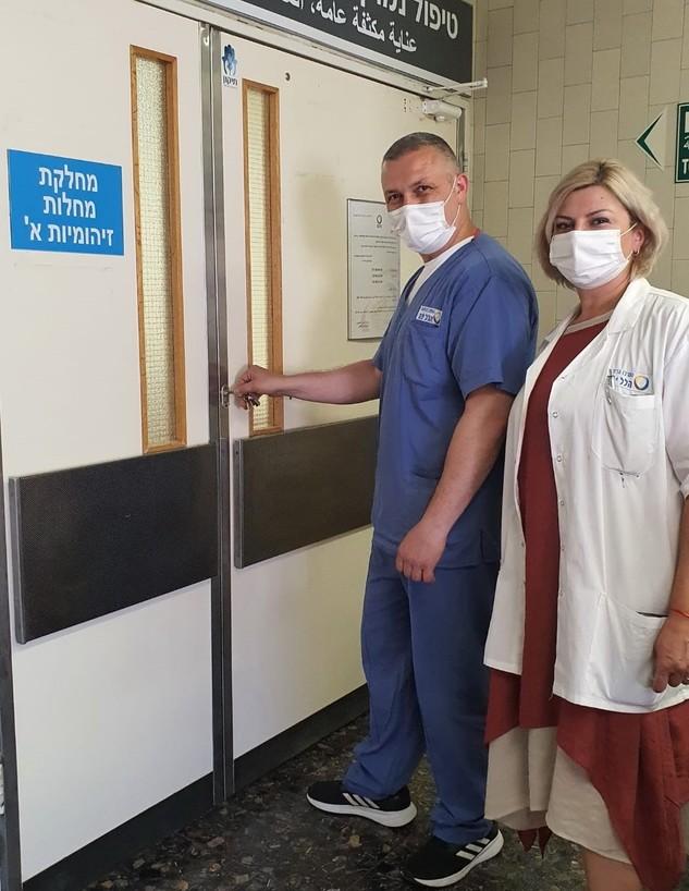 """ד""""ר טטיאנה מיכאלוב והאח אלכס בבט  (צילום: דוברות הלל יפה)"""