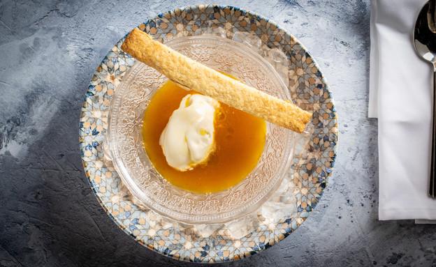 """מרק סברס עם גלידת גבינת עיזים - איתיאלה היאט (צילום: נתנאל ישראל, מתוך """"מאסטר שף"""")"""