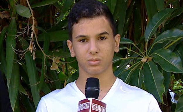 """באמצע משחק פיינטבול: הילד קיבל התקף אלרגיה (צילום: מתוך """"חדשות הבוקר"""" , קשת 12)"""