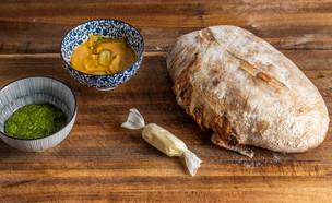 """לחם עם גבינת עיזים וכרישה - איתיאלה היאט (צילום: נתנאל ישראל, מתוך """"מאסטר שף"""")"""