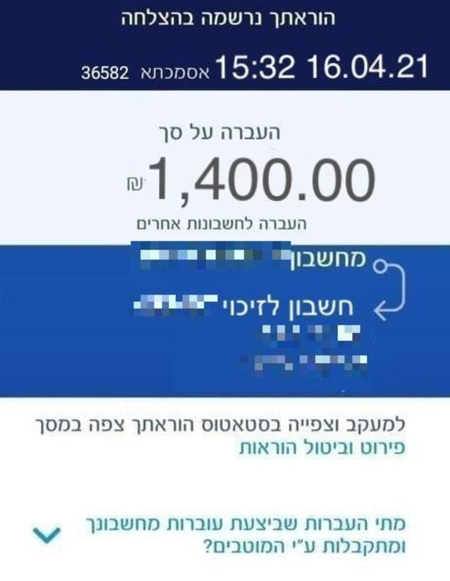 העברה בנקאית מזויפת (צילום: צילום מסך)