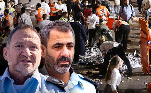 """מפכ""""ל המשטרה קובי שבתאי ומפקד מחוז צפון שמעון לביא (עיבוד: פלאש 90)"""
